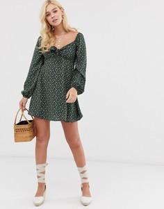 Платье мини с цветочным принтом и завязкой Gilli-Зеленый