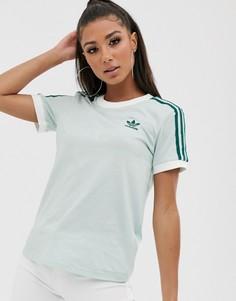 Футболка мятного цвета с тремя полосками adidas Originals adicolor-Зеленый