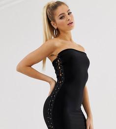 Черное платье-бандо мини со шнуровкой Fashionkilla-Черный