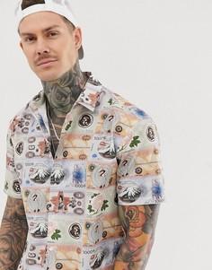 Oversize-рубашка с короткими рукавами и принтом с изображением денег в винтажном стиле ASOS DESIGN-Белый