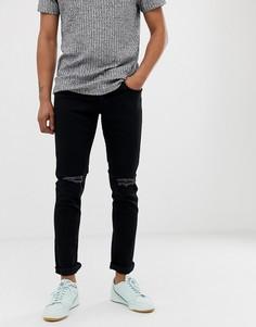 Черные джинсы скинни с рваной отделкой Produkt-Черный