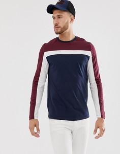 Темно-синяя футболка с длинным рукавом и вставками колор блок ASOS DESIGN-Темно-синий