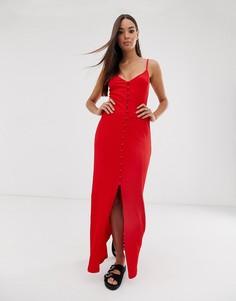 Фактурное платье макси на пуговицах ASOS DESIGN-Красный