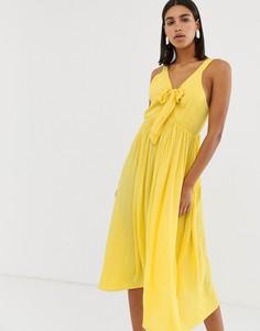 Платье макси с жатым эффектом и завязкой Vero Moda-Желтый