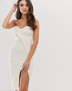 Платье-бандо миди с разрезом Vesper-Бежевый