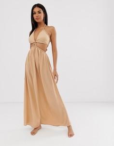Пляжное платье макси с вырезами ASOS DESIGN-Коричневый