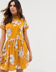 Платье мини с короткими рукавами и цветочным принтом AX Paris-Желтый