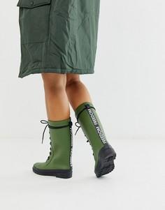 Резиновые сапоги цвета хаки на шнуровке и массивной подошве ASOS DESIGN Ground-Зеленый