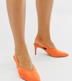 Оранжевые туфли для широкой стопы на каблуке-рюмочке и с ремешком через пятку ASOS DESIGN Savannah-Оранжевый