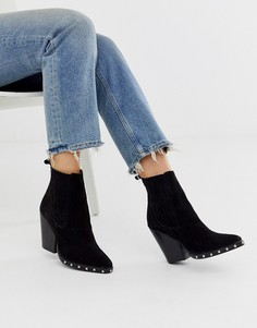 Черные замшевые ботинки на каблуке в стиле вестерн ASOS DESIGN Relative-Черный