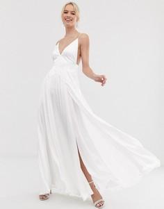 Свадебное платье на бретельках с разрезами ASOS EDITION-Белый