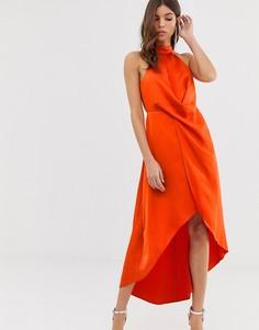 Атласное платье миди с высоким воротом и запахом ASOS DESIGN-Оранжевый