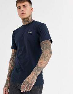 Темно-синяя футболка с маленьким логотипом Vans-Темно-синий