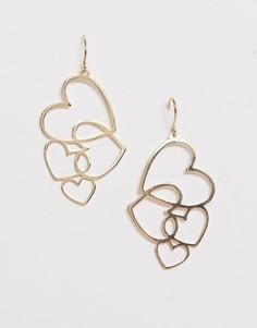 Золотистые серьги-протяжки с сердечками ASOS DESIGN-Золотой