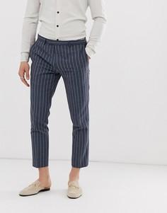 Синие укороченные зауженные брюки в полоску Twisted Tailor-Синий