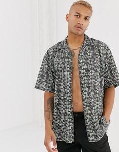 Свободная рубашка с короткими рукавами и принтом в стиле ретро ASOS DESIGN-Черный