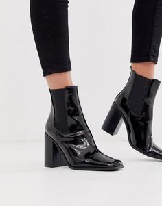 Черные лакированные ботинки челси на каблуке ASOS DESIGN River-Черный