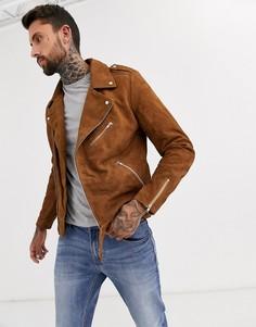 Светло-коричневая замшевая байкерская куртка ASOS DESIGN-Светло-коричневый