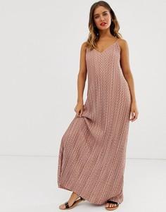 Плиссированное платье макси в горошек с глубоким вырезом ASOS DESIGN-Мульти