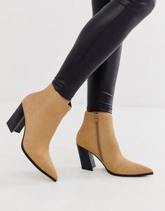 Кожаные ботинки цвета верблюжьей шерсти на каблуке и с острым носком ASOS DESIGN Elude-Бежевый