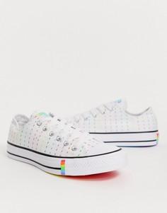 Белые кроссовки с изображением молний радужной расцветки Converse Pride Chuck Taylor Ox All Star-Белый