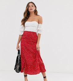 Юбка миди с цветочным принтом и баской Wednesdays Girl-Красный