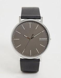 Часы с кожаным ремешком Skagen SKW6528-Черный