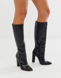 Черные кожаные сапоги на блочном каблуке с рисунком крокодиловой кожи ALDO-Черный