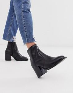 Черные кожаные ботинки на блочном каблуке с заклепками ASOS DESIGN Restore-Черный