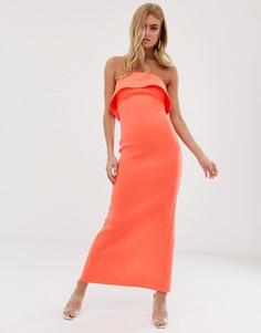 Платье макси с вырезом бандо и складками ASOS DESIGN-Оранжевый