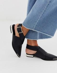 Черные туфли на плоской подошве с острым носком ASOS DESIGN Marco-Черный