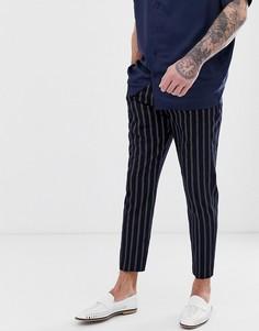 Свободные укороченные брюки в полоску Harry Brown-Темно-синий