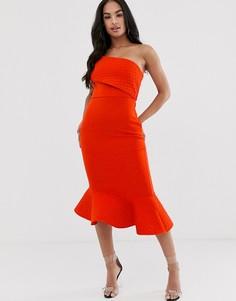Платье миди с открытыми плечами, стеганым отворотом и баской ASOS DESIGN-Мульти
