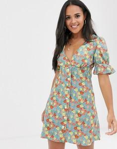 Чайное платье с пышными рукавами и цветочным принтом ASOS DESIGN-Мульти