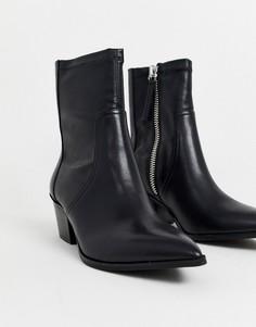 Кожаные полусапожки в ковбойском стиле ALDO Batis-Черный