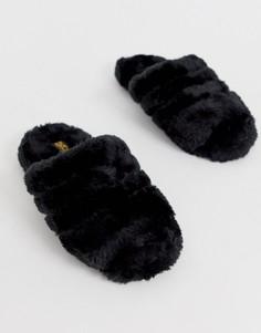 Слиперы с искусственным мехом Truffle Collection-Черный