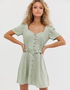 Платье мини на пуговицах и с присборенной отделкой на талии ASOS DESIGN-Зеленый