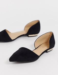 Черные замшевые туфли на плоской подошве RAID-Черный