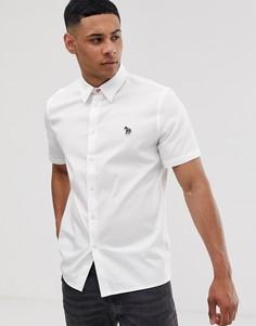 Белая оксфордская рубашка с короткими рукавами и логотипом-зеброй PS Paul Smith-Белый