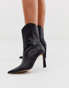 Черные кожаные ботинки на высоком каблуке в стиле вестерн ASOS DESIGN Ebony-Черный