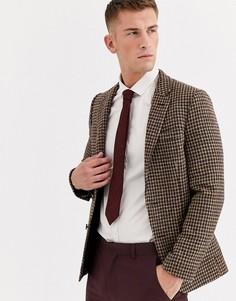 Коричневый приталенный пиджак в клетку из твида Харрис ASOS DESIGN wedding