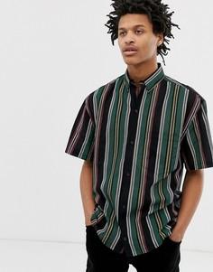 Черная рубашка с короткими рукавами в вертикальную полоску Weekday Mack-Черный