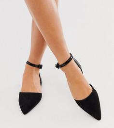 Черные балетки для широкой стопы с заостренным носком ASOS DESIGN-Черный