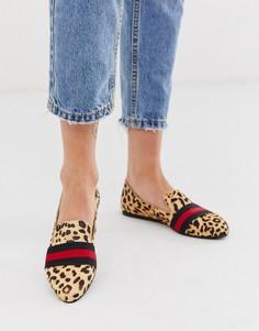 Туфли на плоской подошве с леопардовым принтом и контрастной лентой Steve Madden Nema-Мульти