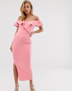 Платье макси с открытыми плечами и драпированной оборкой True Violet-Розовый