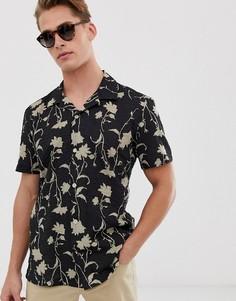 Рубашка с короткими рукавами и цветочным принтом Hymn-Черный