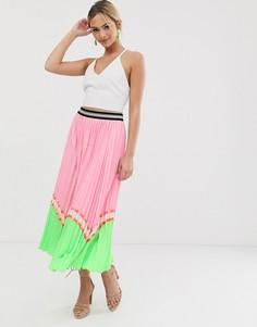 Розовая плиссированная юбка макси в стиле колор блок Liquorish-Розовый