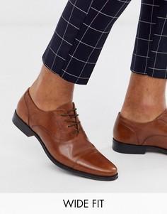 Светло-коричневые кожаные оксфордские туфли для широкой стопы ASOS DESIGN-Светло-коричневый