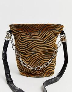 Сумка-мешок с тигровым принтом и цепочкой Sacred Hawk-Мульти