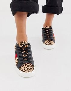 Кроссовки на плоской подошве с леопардовым принтом и контрастной полосой Steve Madden Belle-Мульти